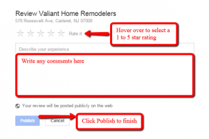 Write a Google+ Review for Valiant Home Remodelers